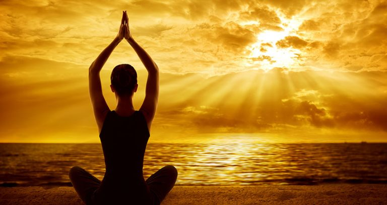 Yoga Meditation Concept, Woman Silhouette Meditating In Healthy